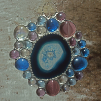 Blue agate and glass nugget suncatcher (0386)