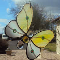 Lemon and white stained glass butterfly 0315