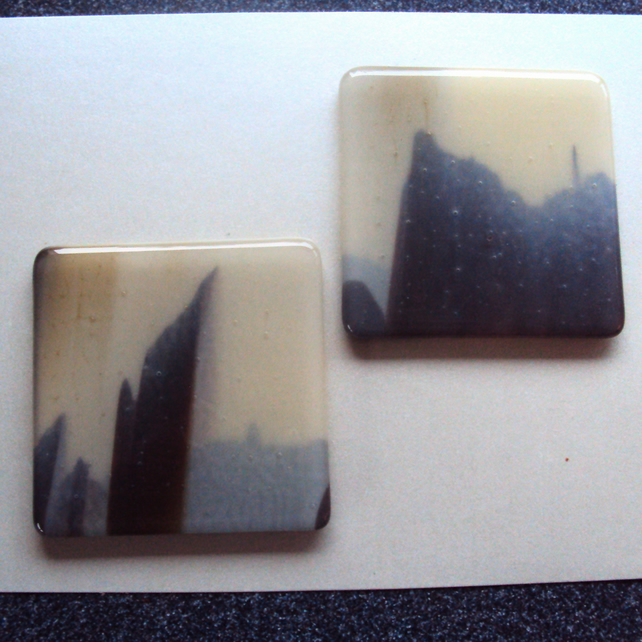 Landscape fused glass coaster pair  (0489)