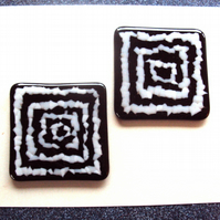 Black and white mosaic fused glass coaster pair No.2  (0487)