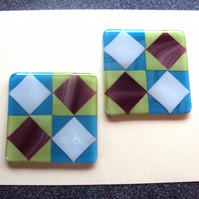 Diamonds in squares fused glass coaster pair   (0486)