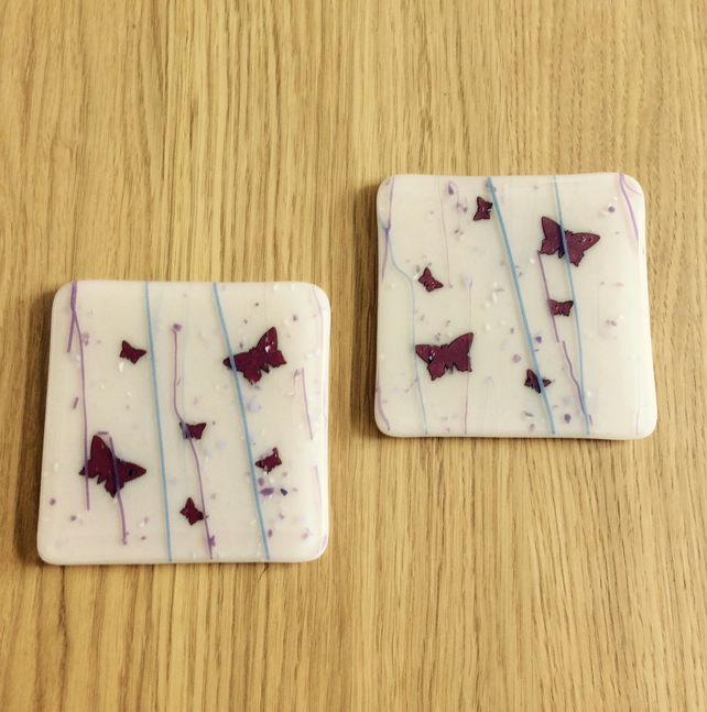 Butterflies on peach coasters 0325