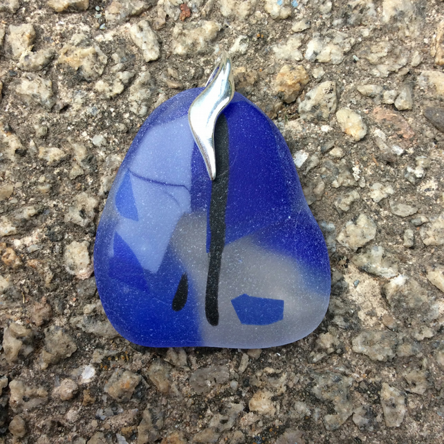 Abstract blue glass pendant (0354)