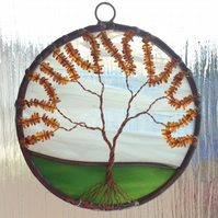 Amber on stained glass tree of life (0352)