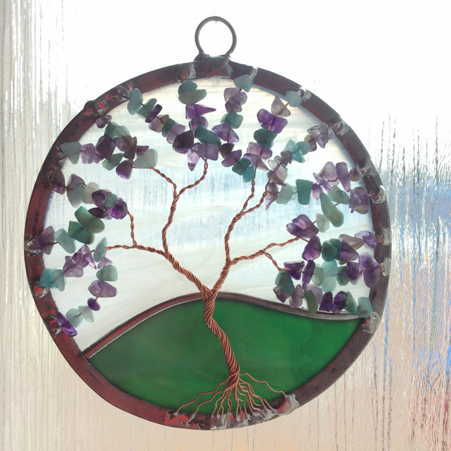 Amethyst and amazonite tree of life suncatcher (0423)