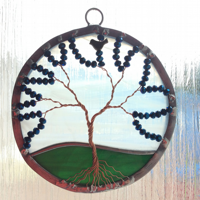 Blue glass crystal tree of life suncatcher (0353)