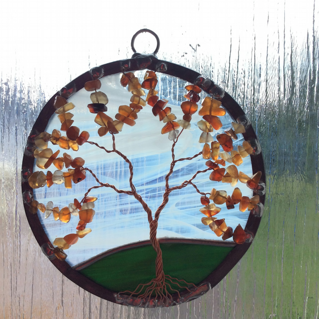 Carnelian tree of life suncatcher (0363)