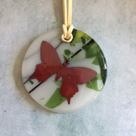 Butterfly fused glass pendant (0359)