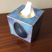 Blue agate tissue box cover (0380)