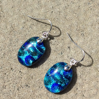 Greeny blue oval earrings (0388)