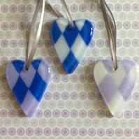 Set of three mini harlequin hearts (0392)