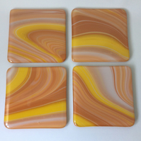 Terracotta fused glass coaster set (0447)
