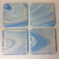 Wispy white fused glass coaster set (0448)