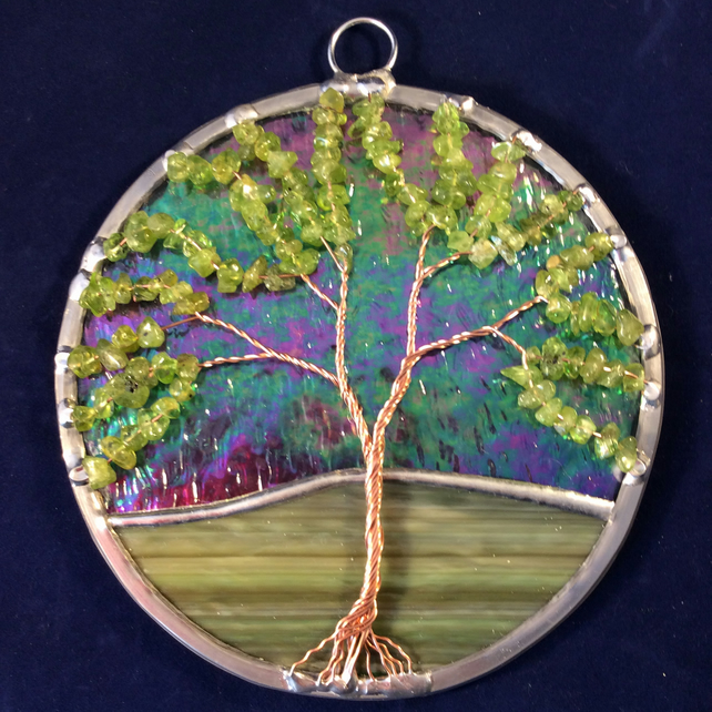 Peridot tree of life suncatcher