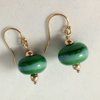 Green donut earrings
