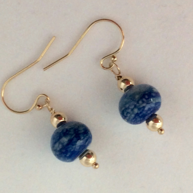 Lapis lampwork earrings