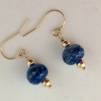 Lapis lampwork earrings  (0569)
