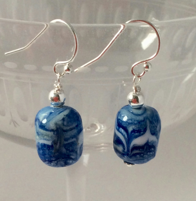 Marbled lapis lampwork earrings