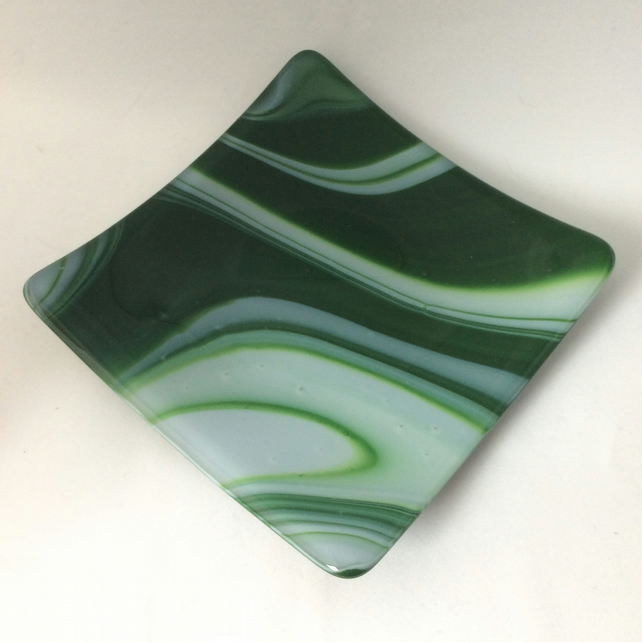 Swirled green fused glass plate
