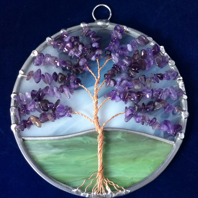 Amethyst tree of life suncatcher