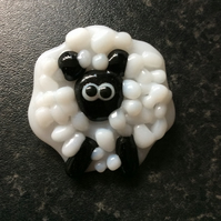 Fused glass sheep brooch
