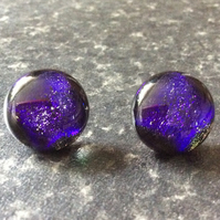 Purple dichroic stud earrings