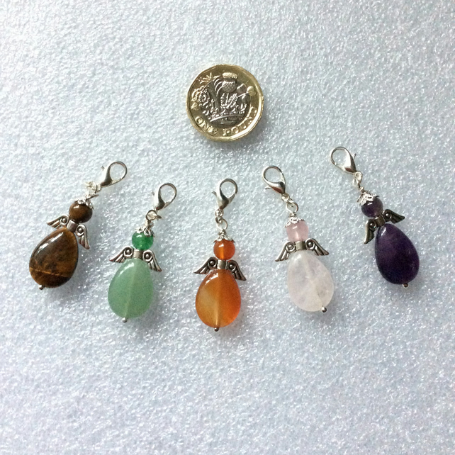 Set of five gemstone angel charms