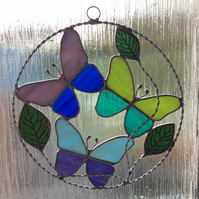 Round butterfly suncatcher panel  (0551)