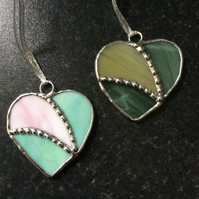 Stained glass heart decorations  (0558)