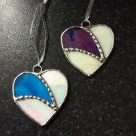 Stained glass heart decorations  (0557)
