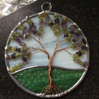 Amethyst and peridot tree of life suncatcher (0584)