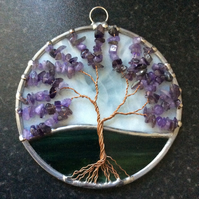 Amethyst tree of life suncatcher (0590)