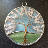 Rose quartz tree of life suncatcher (0591)