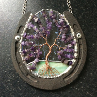 Horseshoe with amethyst tree of life