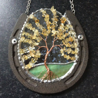 Horseshoe with citrine tree of life