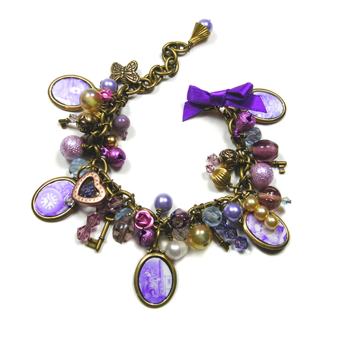 Alice In wonderland Purple Vintage Inspired Bracelet