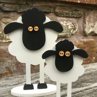 Set of 2 Wooden Sheep
