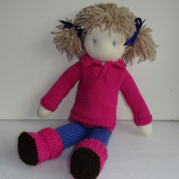 TOY DOLL KNITTING PATTERN - LULU IN TROUSERS