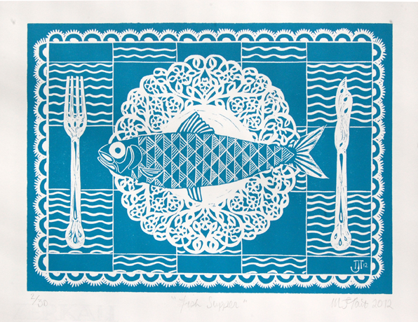 """Fish Supper"" Linocut"