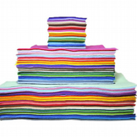 65 4 inch wool felt squares rainbow pack, sampler, craft, die cut compatible,65 4 inch wool felt supplies stack, bundle