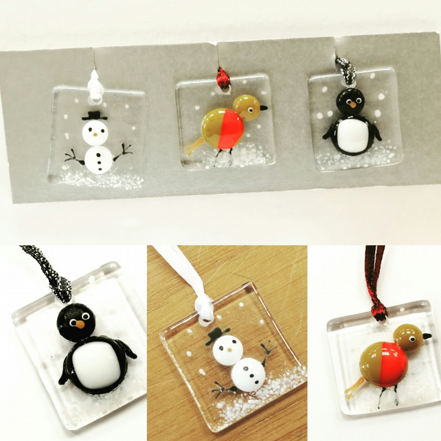 Christmas decoration - fused glass characters