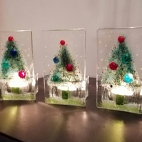 Christmas tree fused glass candle holder