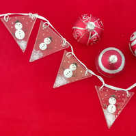 Snowman fused glass bunting