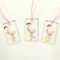 Flamingo fused glass dangles