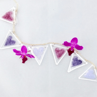 Fused glass bunting purple