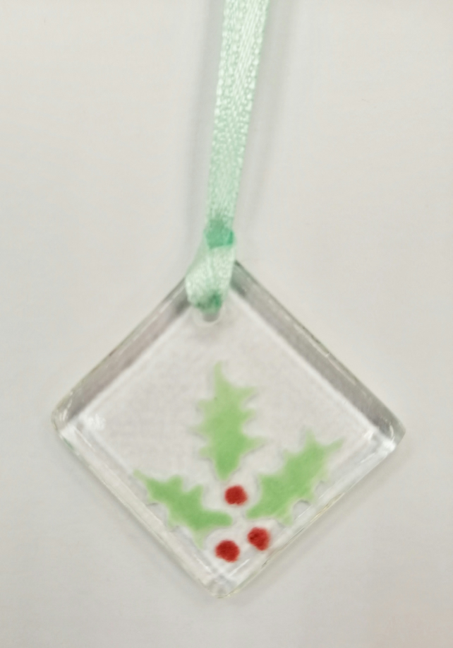 Holly fused glass decoration