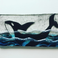 Whale song fused glass tealight holder