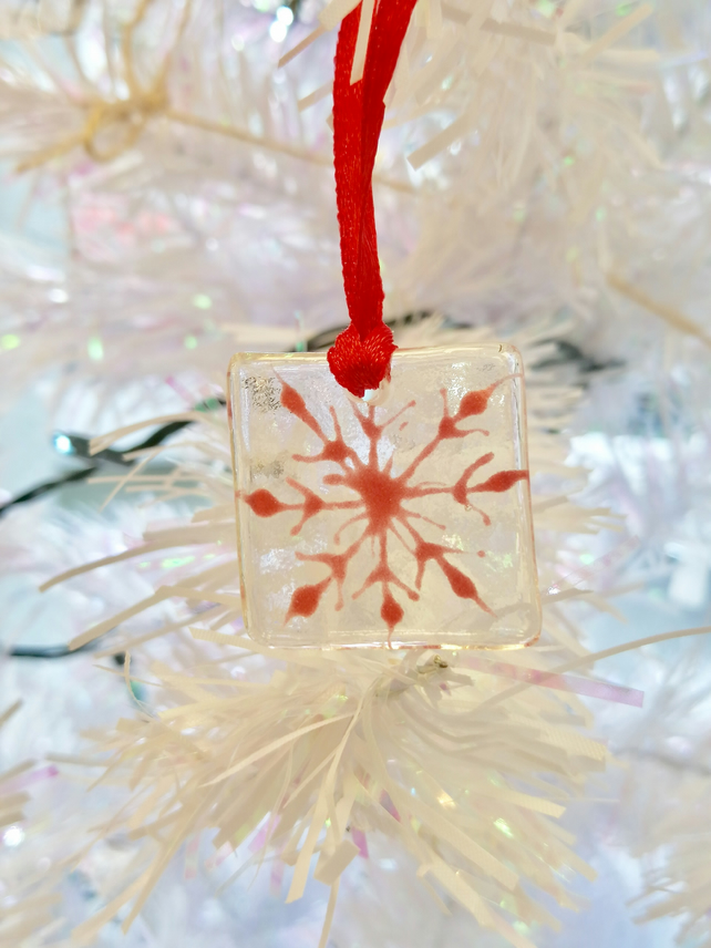 Red snowflake fused glass decoration