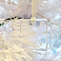 White snowflake fused glass decorations