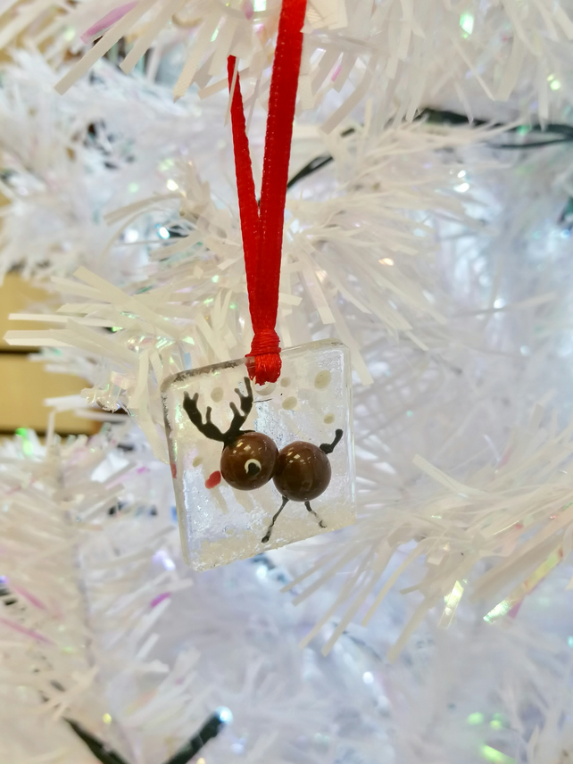 Rudolf fused glass Christmas tree decoration